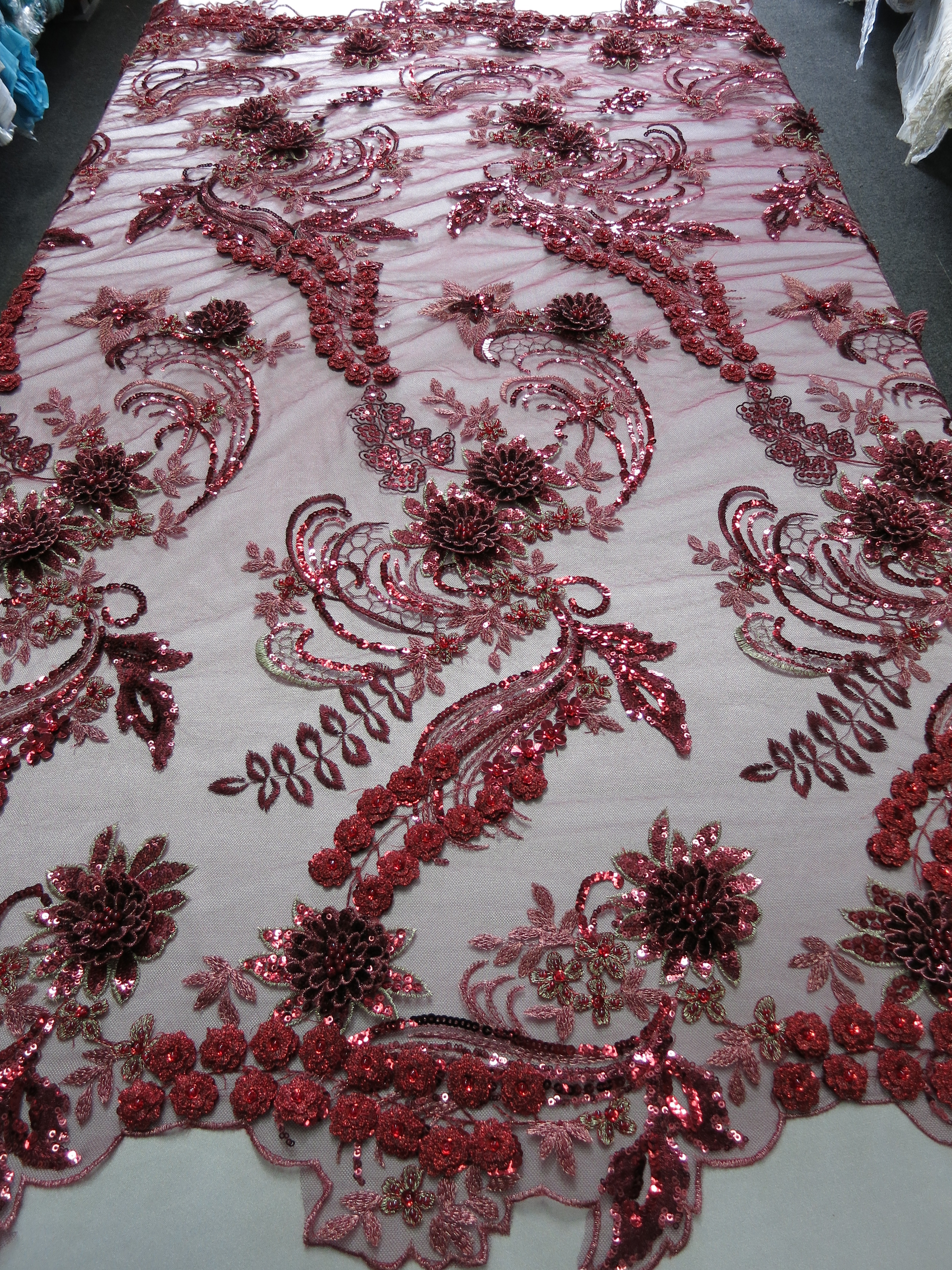 Burgundy d beaded embroidered lace sequin mesh fabric