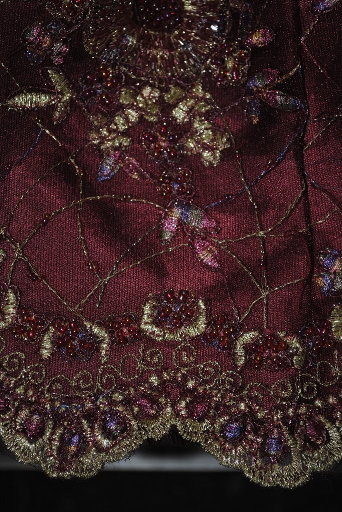 burgundy hand beaded lace by fabric universe