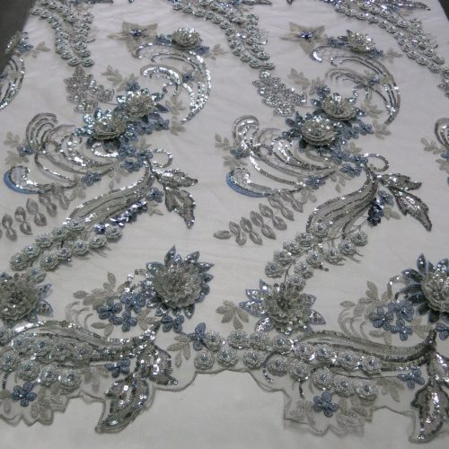 Silver 3D Beaded Embroidered Lace Sequin Mesh Fabric