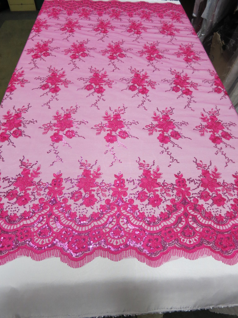 Fuchsia Floral Lace Sequin Fabric