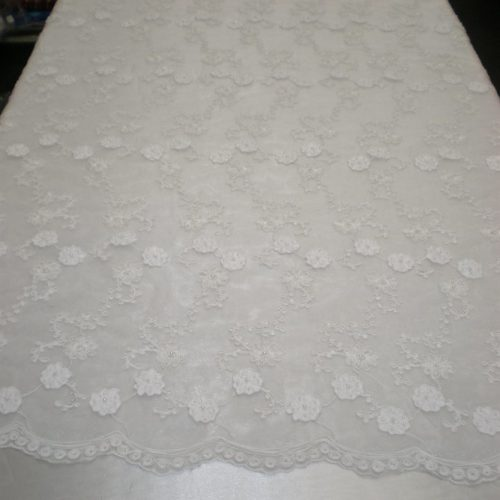 Floral White Beaded Organza Fabric