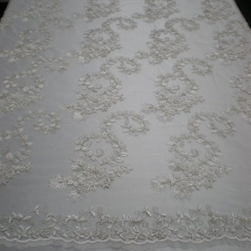 Off-White Hand Crafted Beaded Lace