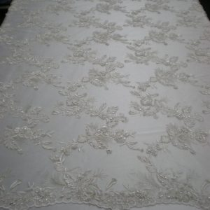 Elegant off-White Hand Crafted Beaded Lace