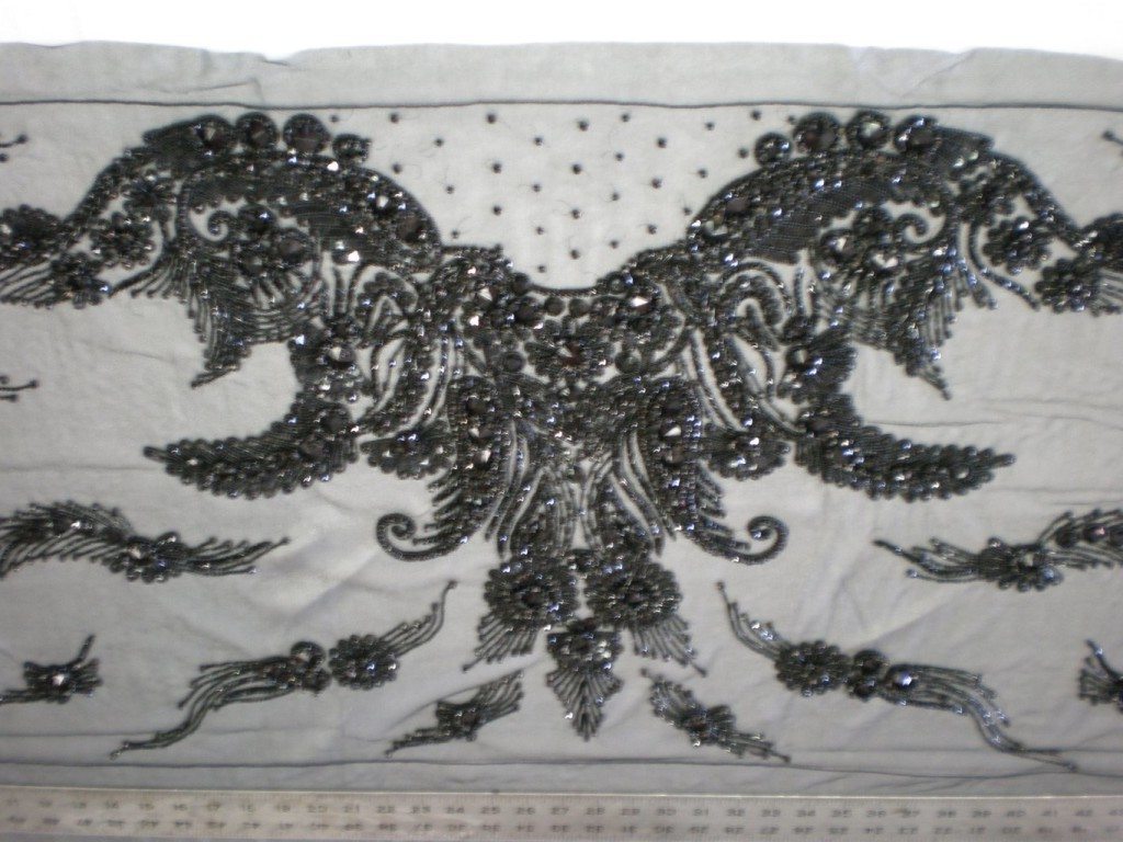 High quality black bridal beaded lace