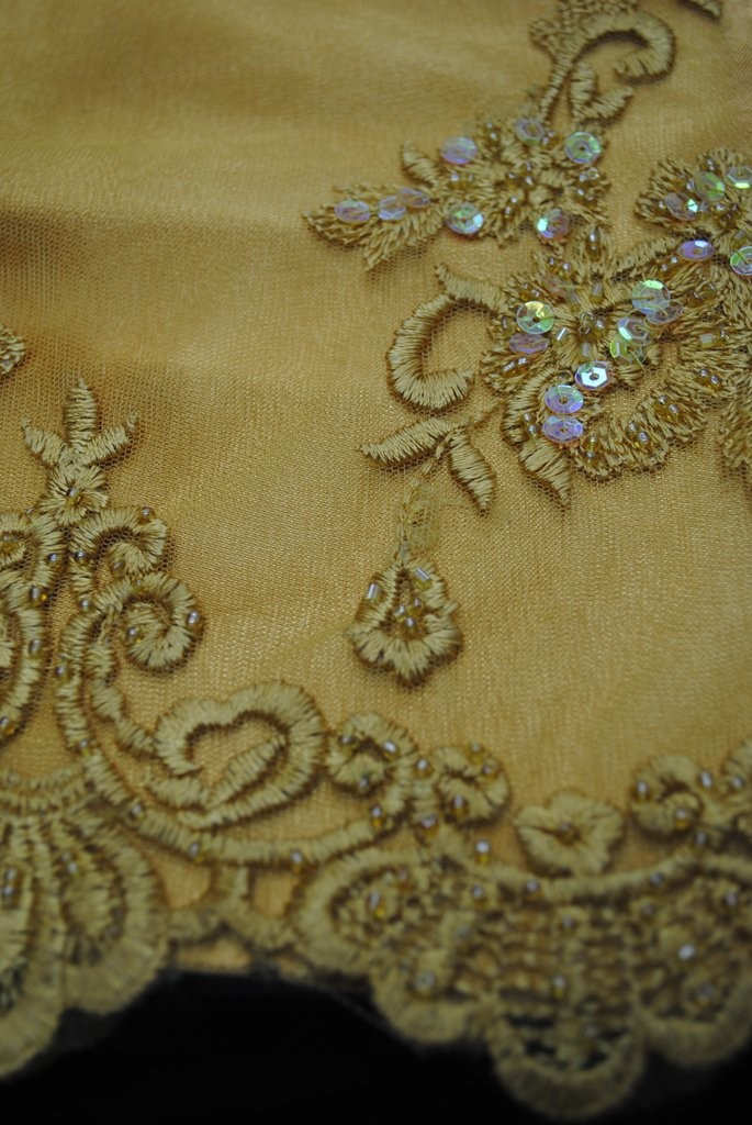 Gold Embroidered Mesh with Hand Sewn Beads