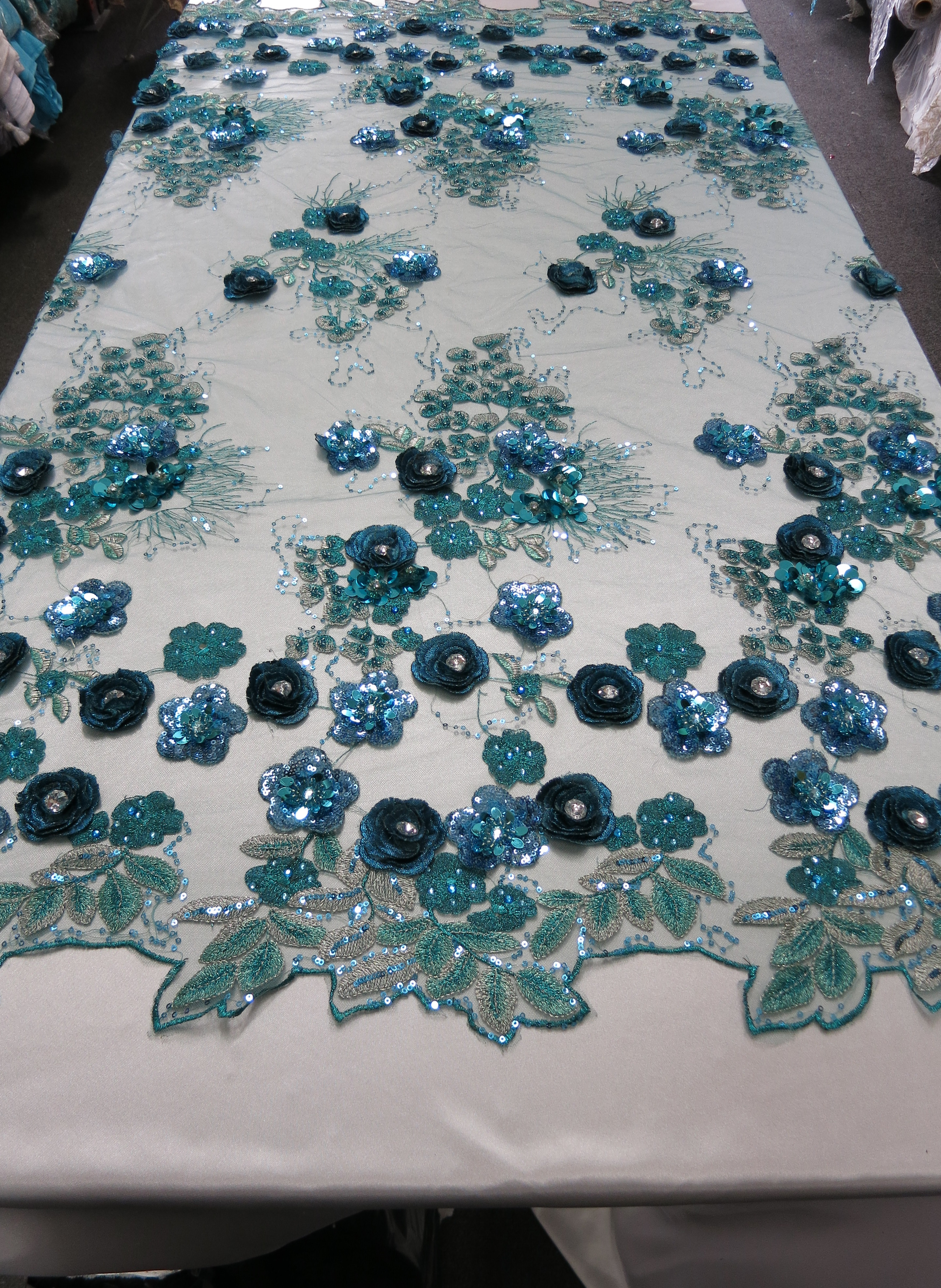 Turquoise Embroidered Beaded Sequin Mesh Fabric