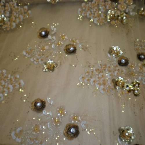 Gold Embroidered Lace with Beads, Sequins & Lurex Thread