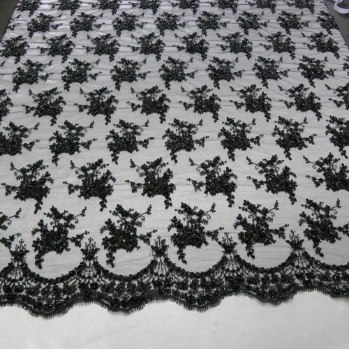 Black Floral Embroidered Beaded Lace Sequin Mesh Fabric