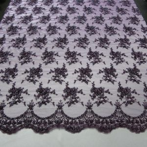 Purple Floral Embroidered Beaded Lace Sequin Mesh Fabric