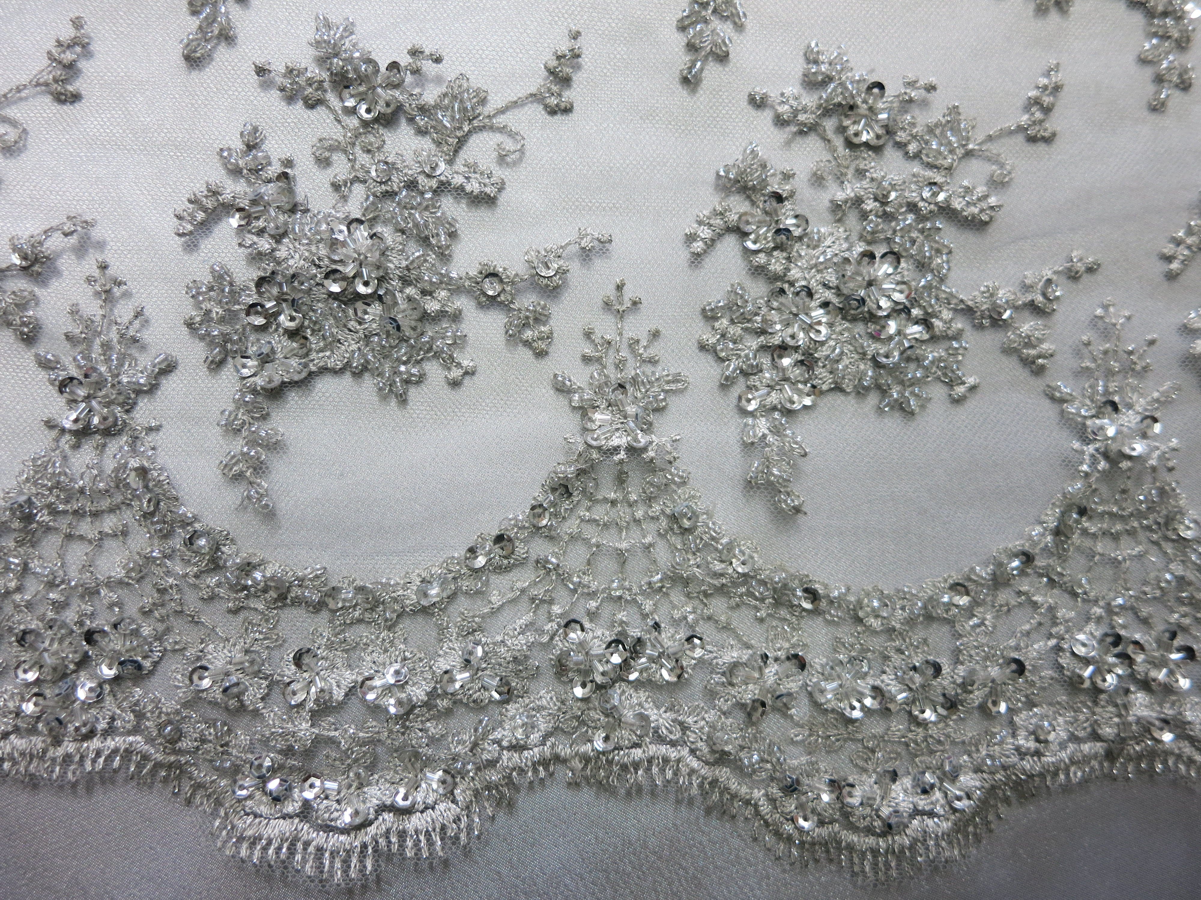 silver floral embroidered beaded lace sequin mesh fabric