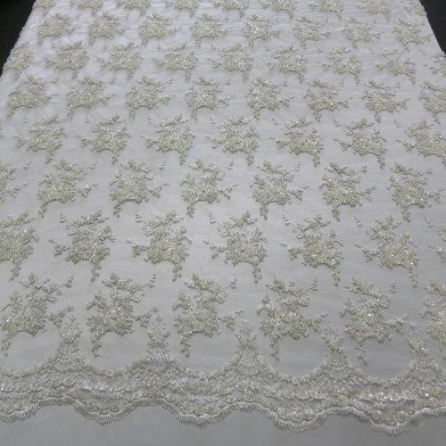 Ivory Floral Embroidered Beaded Lace Sequin Mesh Fabric