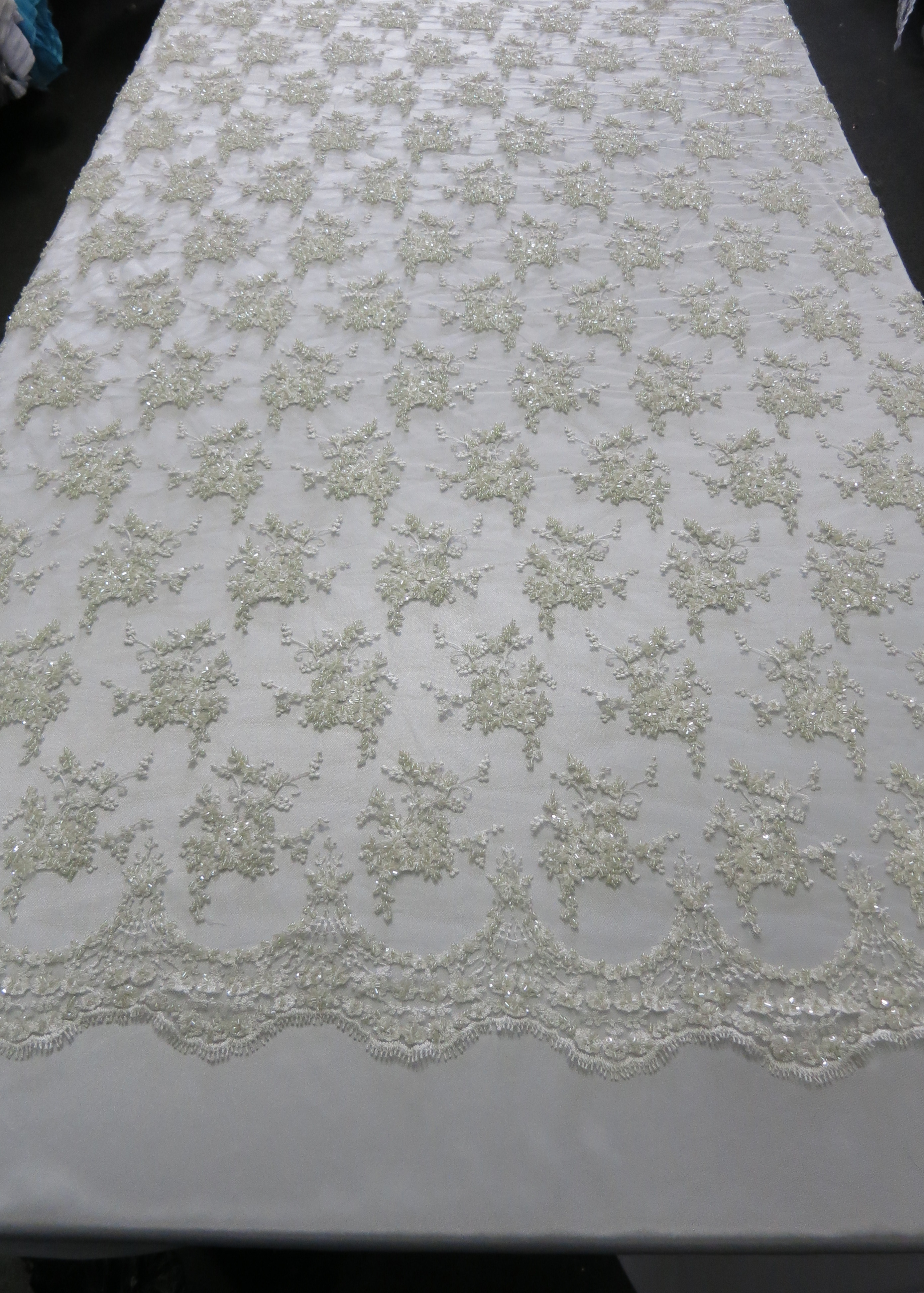 ivory floral embroidered beaded lace sequin mesh fabric by