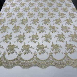 Gold Floral Embroidered Beaded Lace Sequin Mesh Fabric