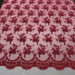 Red Floral Embroidered Beaded Lace Sequin Mesh Fabric