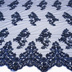 Navy Blue Embroidered Beaded Lace Sequin Mesh Fabric