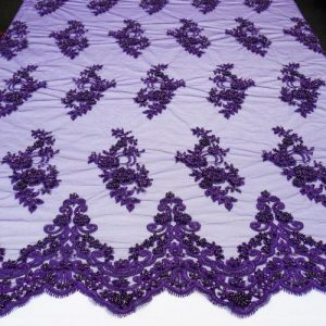 Purple Embroidered Beaded Lace Fabric