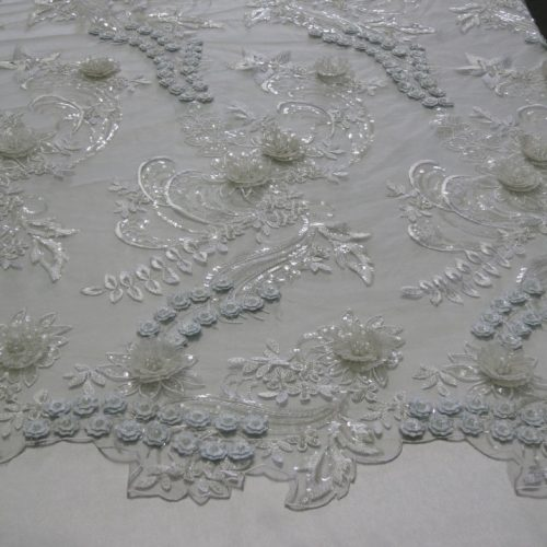 White Floral Embroidered Lace Beaded Sequin Mesh Fabric with Metallic Thread