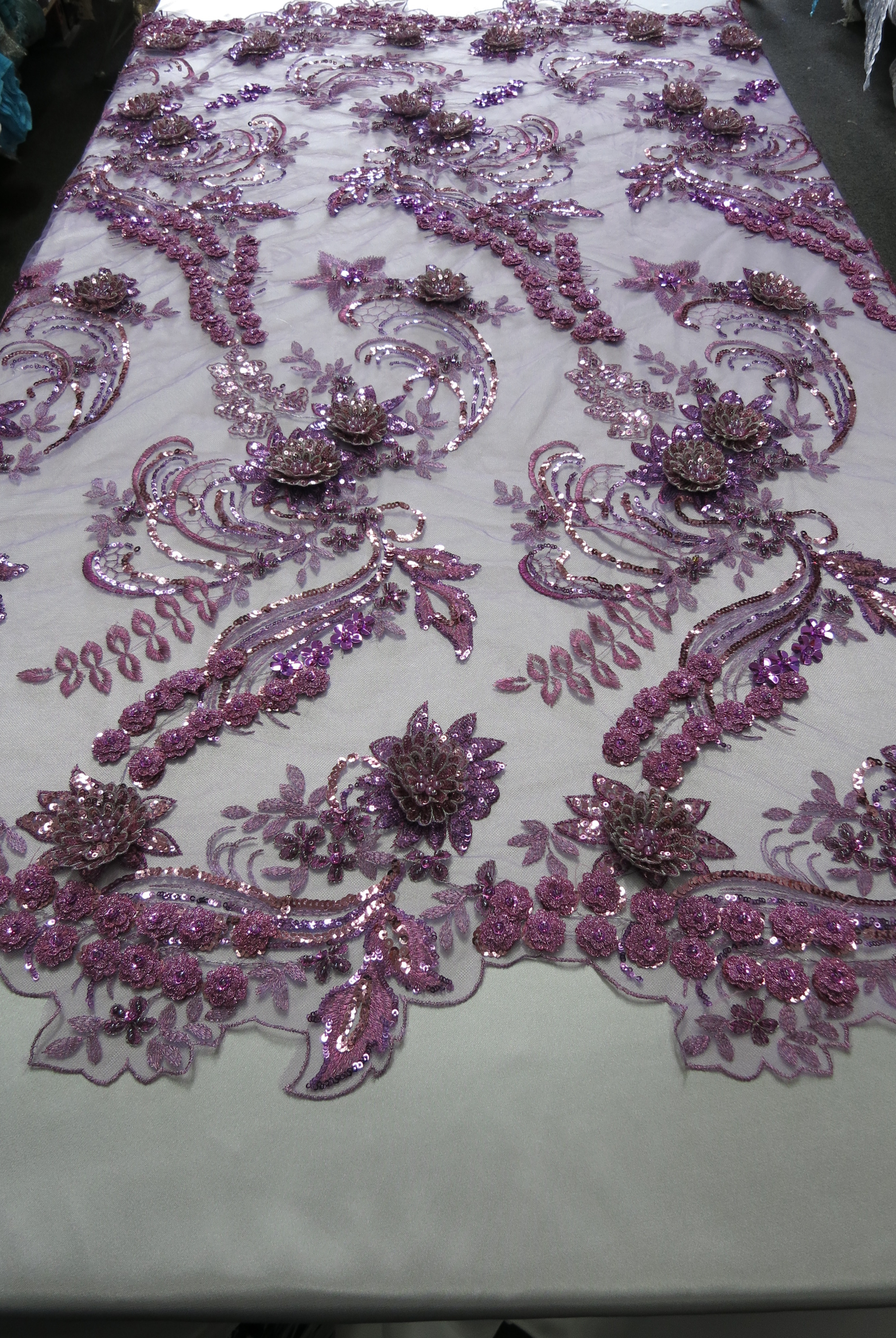 Lavender 3D Beaded Embroidered Lace Sequin Mesh Fabric