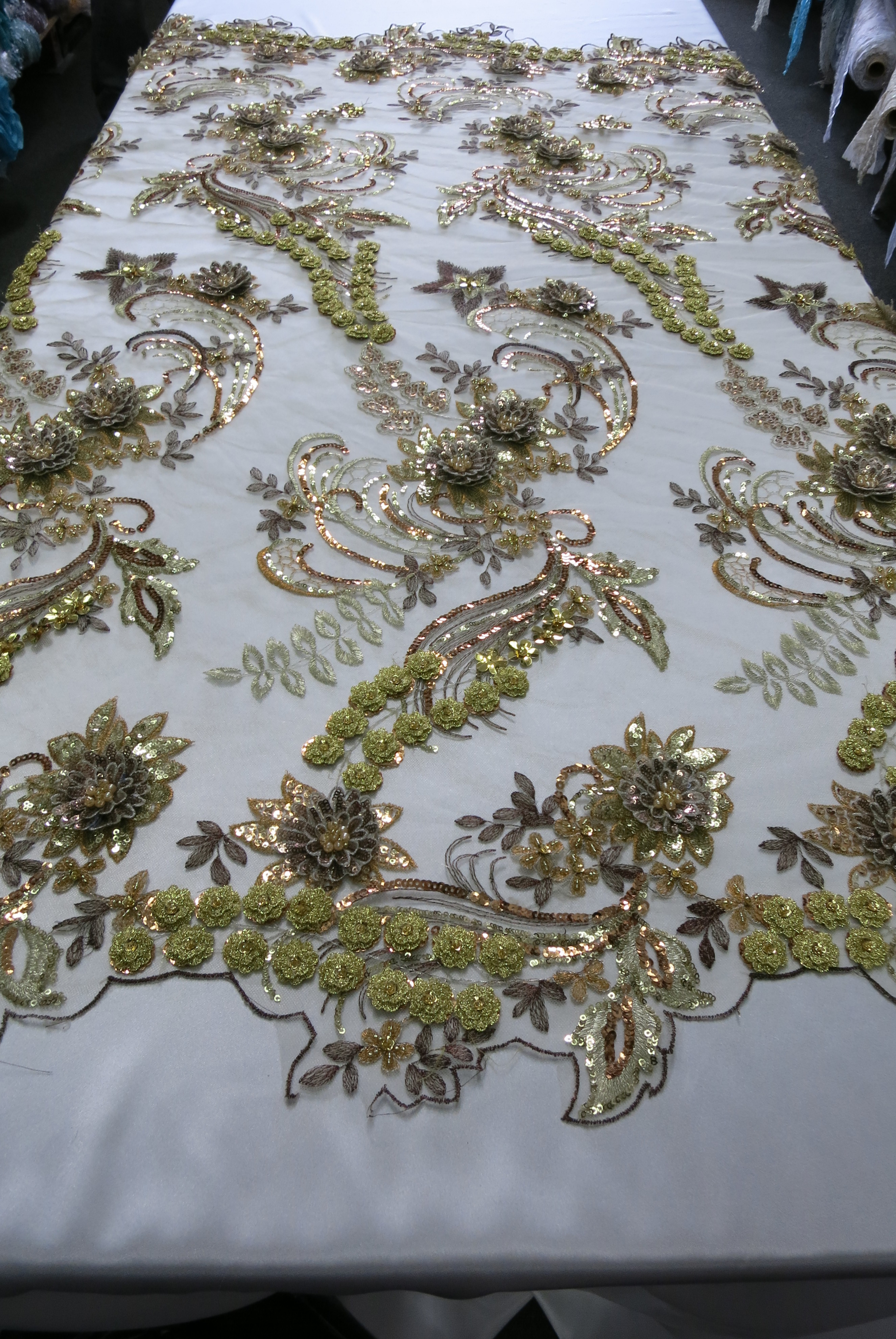 Bronze and Gold 3D Beaded Embroidered Lace Sequin Mesh Fabric