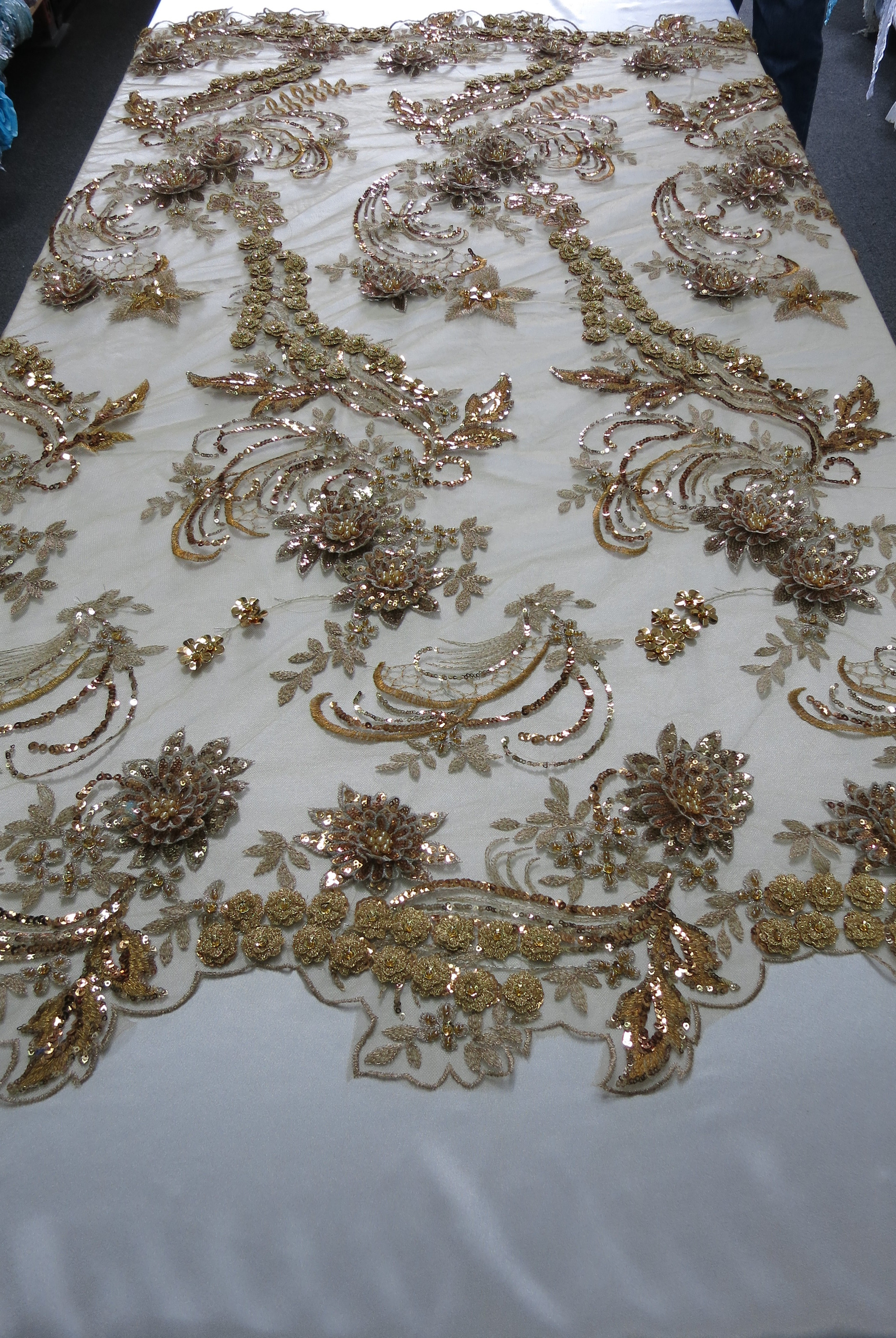 Bronze Embroidered Lace Beaded Sequin Mesh Fabric