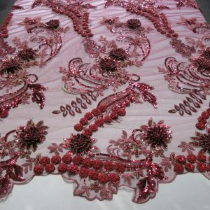 Burgundy 3D Beaded Embroidered Lace
