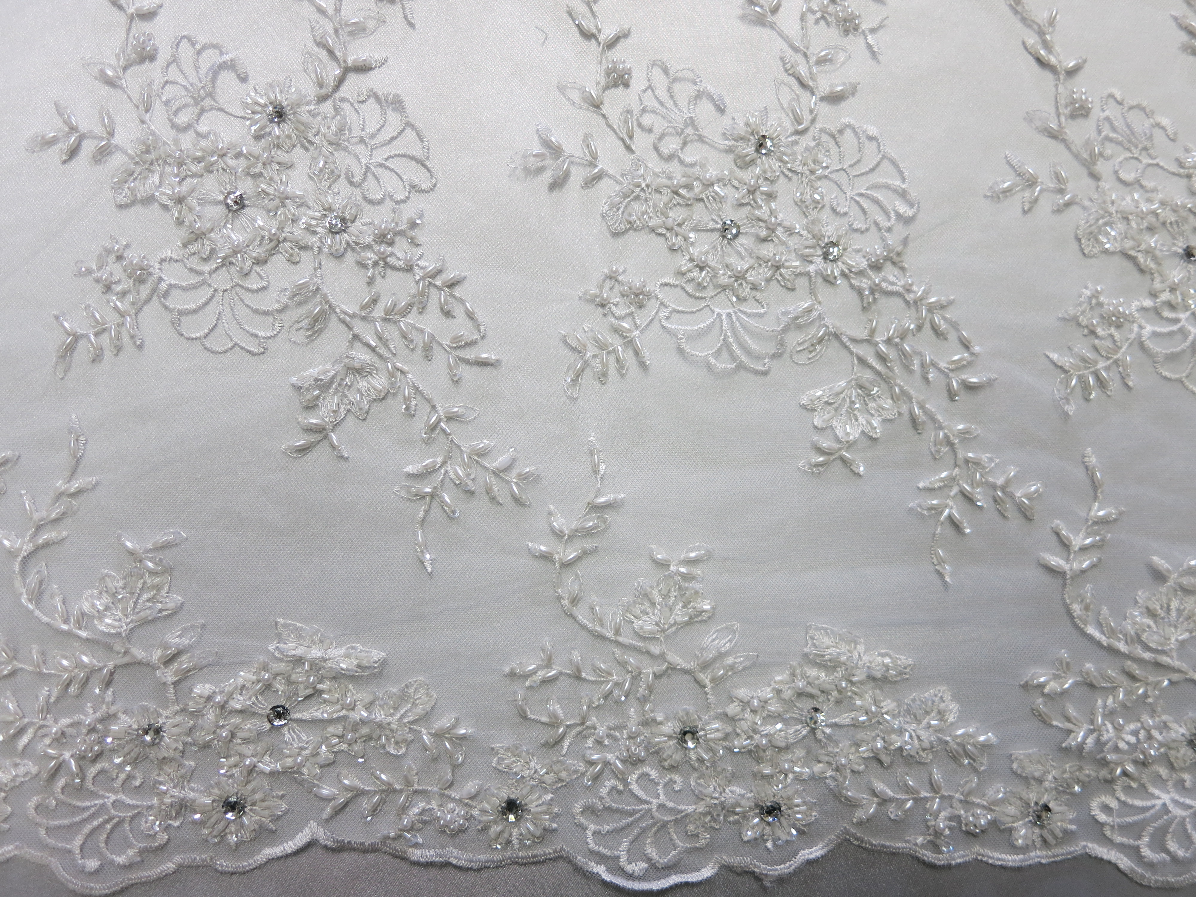 White Rhinestone Beaded Lace Sequin Mesh Embroidered Fabric