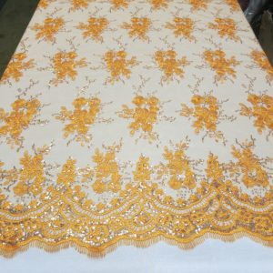 Orange Floral Lace Sequin Fabric