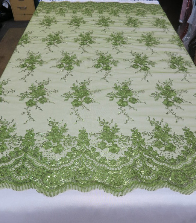 Olive Green Floral Lace Sequin Fabric