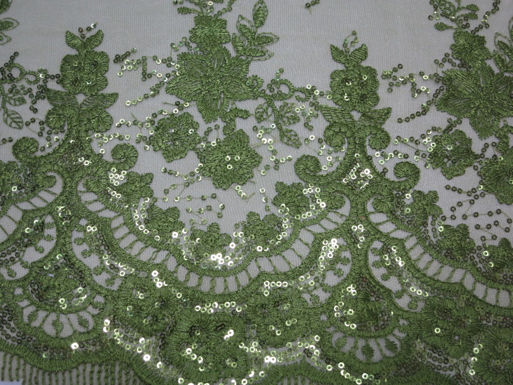 olive green floral lace sequin fabric from fabric universe