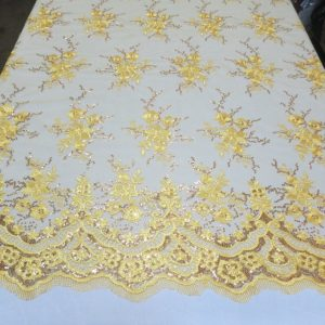 Yellow Floral Lace Sequin Fabric