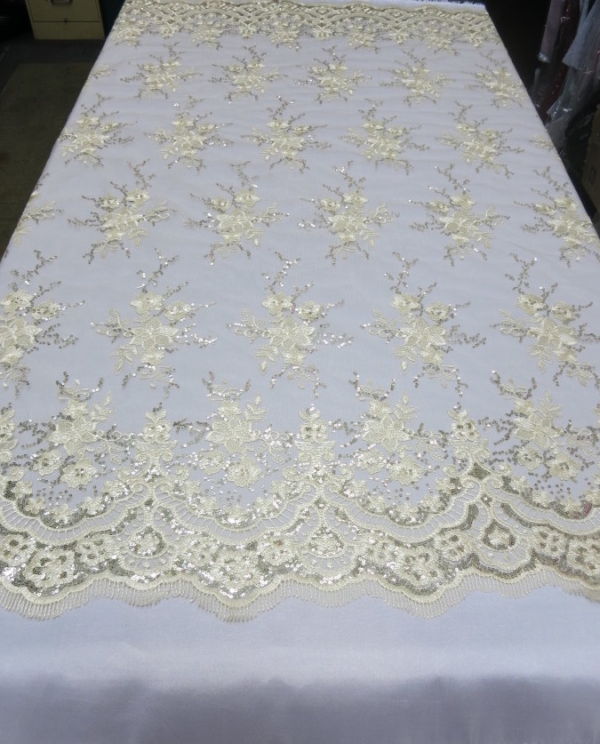 Champagne Floral Lace Sequin Fabric