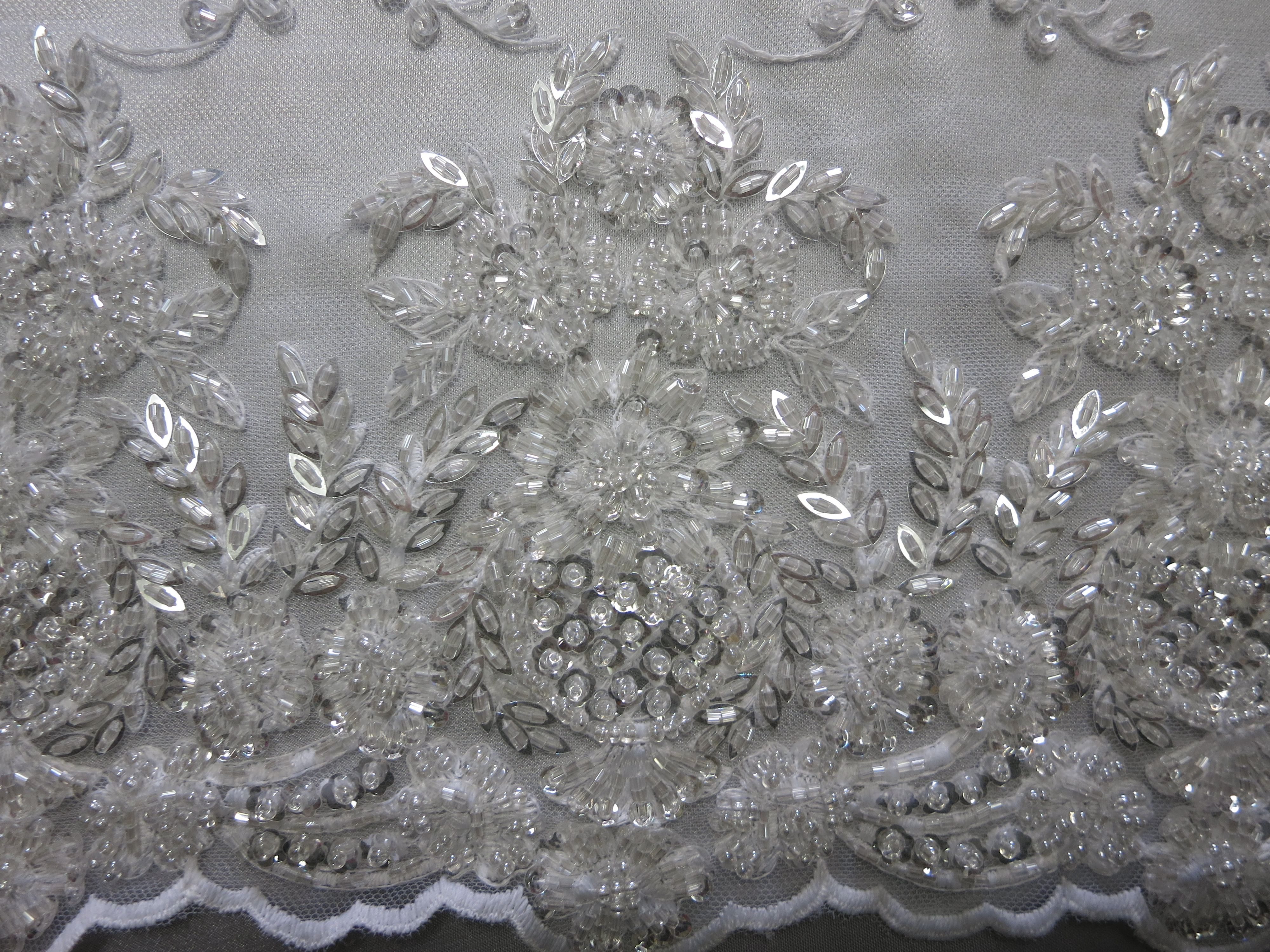 Pearl White Embroidered Beaded Sequin Lace Mesh Fabric