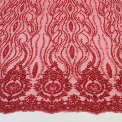 Red Embroidered Beaded Sequin Mesh Fabric