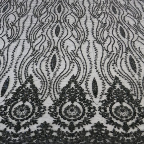 Black Embroidered Beaded Sequin Mesh Fabric