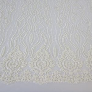 Off White Embroidered Beaded Sequin Mesh Fabric