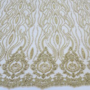 Gold Embroidered Beaded Sequin Mesh Fabric