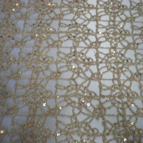 Champagne embroidered fabric with silver sequins