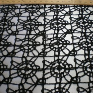 Black embroidered fabric with silver sequins - Fabric universe