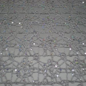 Silver embroidered fabric with silver sequins - Fabric Universe