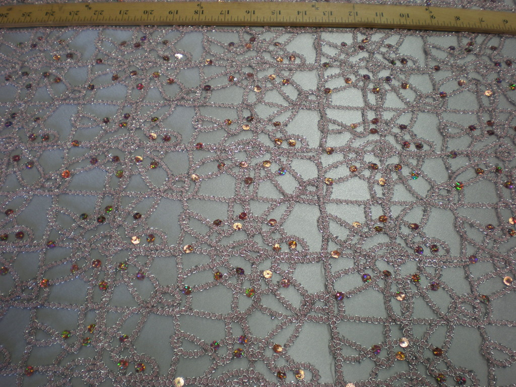 Pink Embroidered fabric with Silver Sequins - Fabric Universe
