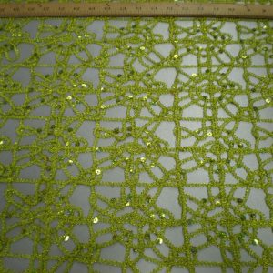 Lime embroidered with silver sequins fabric - Fabric Universe
