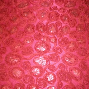 fabric with red flowers and sequins - Fabric Universe