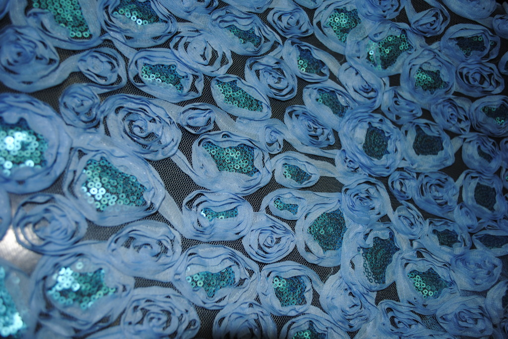 fabric with blue flowers afabric with blue flowers and sequins - Fabric Universe