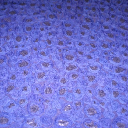Purple Flowers with Sequins on Mesh Ground - Fabric Universe