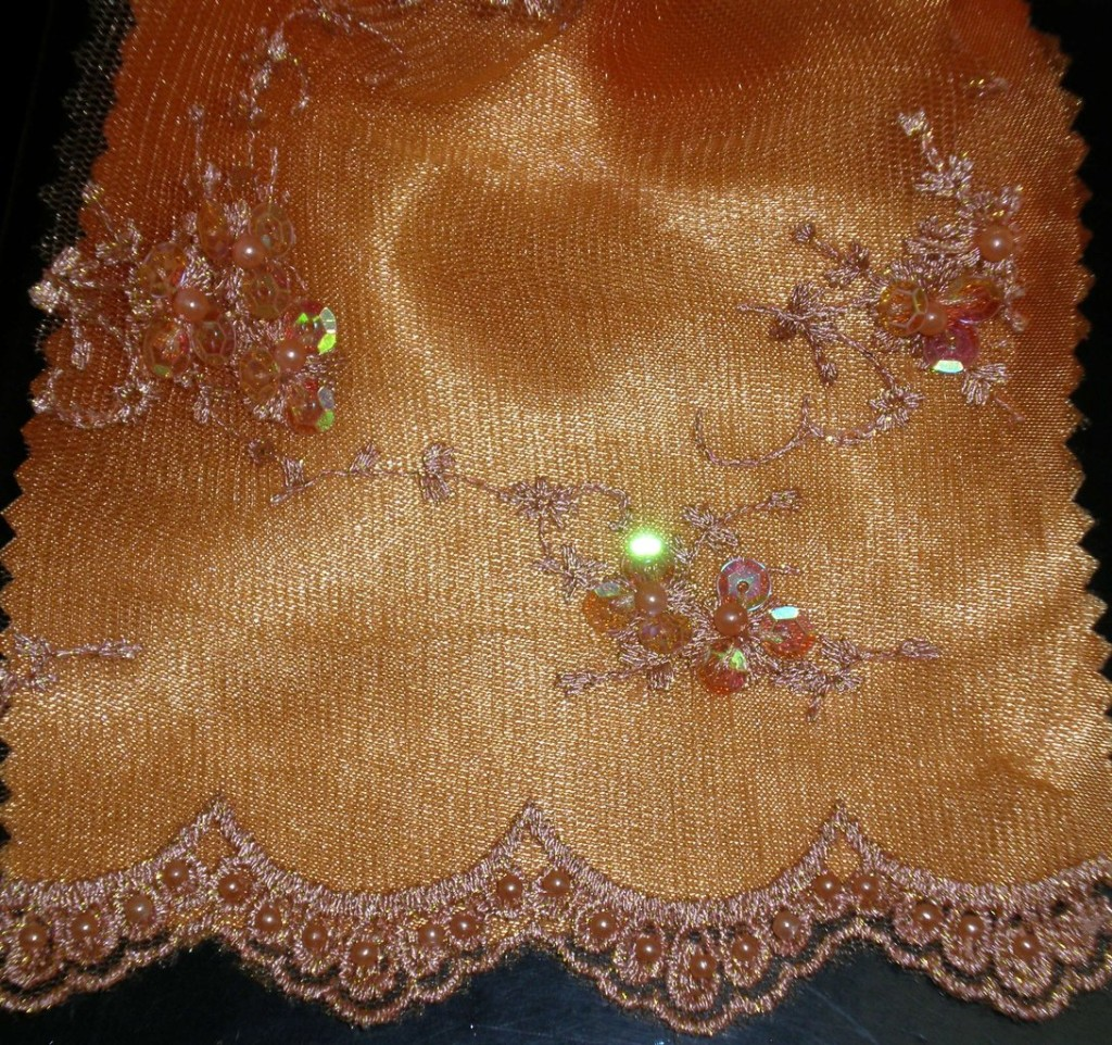 Orange beaded lace with sequins fabric - Fabric Universe