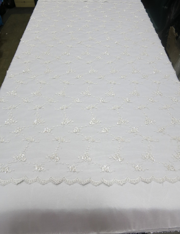 White Embroidered Beaded Lace Sequin Mesh Fabric
