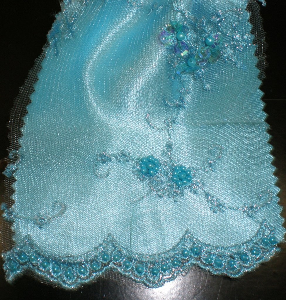 Turquoise Hand Crafted Beaded Lace with Sequins