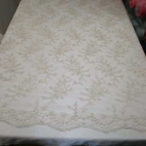 Off white beaded lace & sequins fabric - Fabric Universe