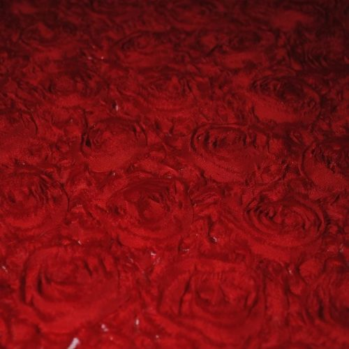 Red georgette roses fabric - Fabric Universe