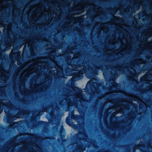 Teal georgette roses fabric - Fabric Universe